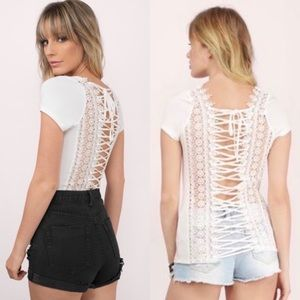 Tobi White Lace Up Lace Top